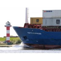 7111 Bug des Containerfeeders NORTH EXPRESS Leuchtturm Luehe |
